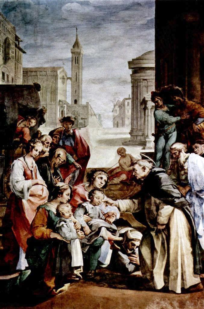Cud św. Jacka, mal. Ventury Salimbeniego (1568–1613). Fresk przedstawia wskrzeszenie chłopca, który utopił się w rzece.