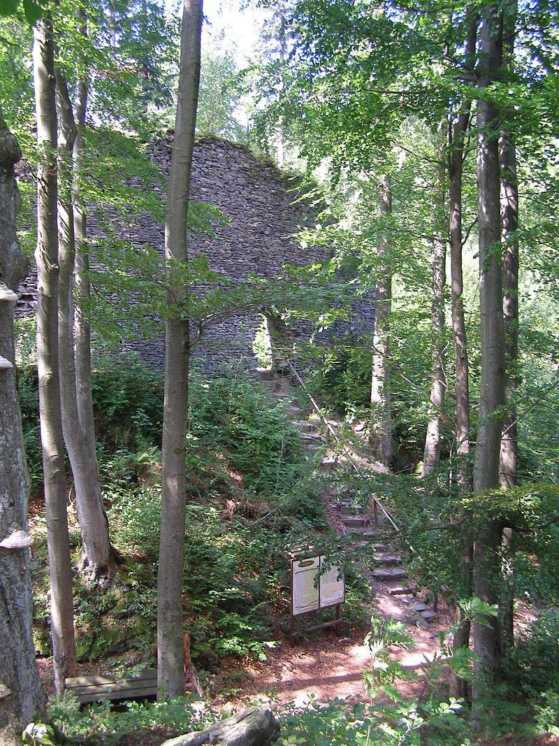 Ruiny Zamku Szczerba - widok na wejście, fot. Ktw (CC BY-SA 3.0)